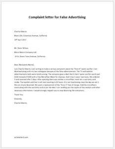 Complaint Letter Misleading Information complaint letter for false advertising writeletter2
