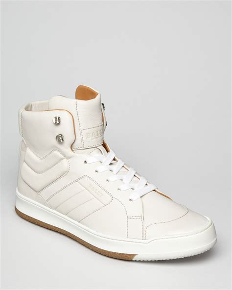 mens white high top sneakers bally odar solid high top sneakers in white for lyst