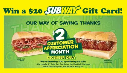 How Can I Check My Subway Gift Card Balance - celebrate subway customer apprecation month win a 20 subway gift card