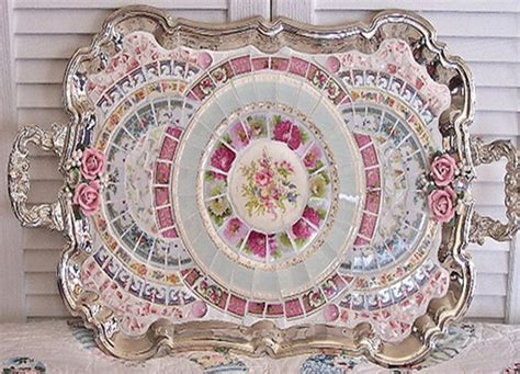 shabby chic mosaic china on silver tray craft decor trends pinterest silver trays and mosaics