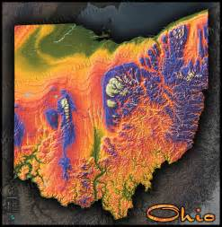 Topographical Map Of Ohio by Colorful Ohio Wall Map 3d Topographical Physical Features