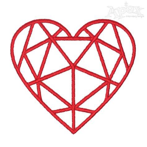 embroidery design diamond diamond heart embroidery design