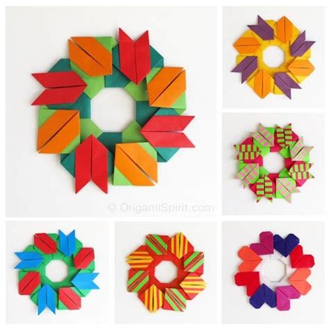 Modular Origami Wreath - origami tulip and on