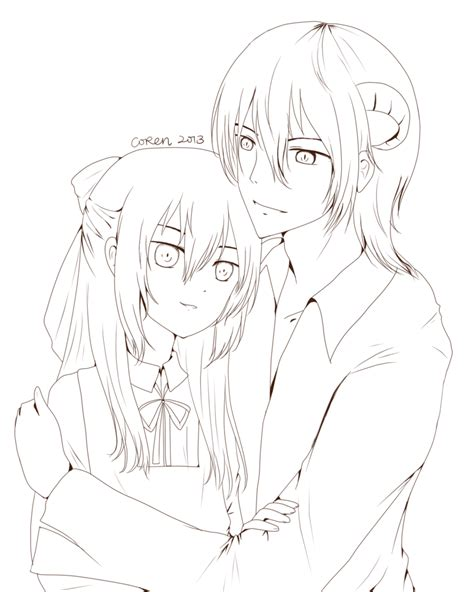 anime couple line art sketch coloring page