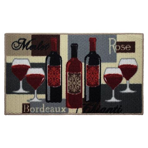 Wine Kitchen Rug by Structures Wine Time 18 In X 30 In Textured Oblong