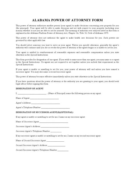Free Alabama Durable Financial Power Of Attorney Form Pdf Template Form Download Alabama Durable Power Of Attorney Template