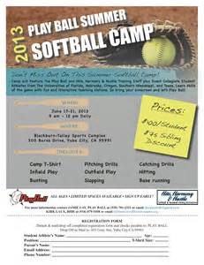 series of softball camp flyers cat