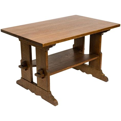 table l signed l jg stickley trestle table at 1stdibs