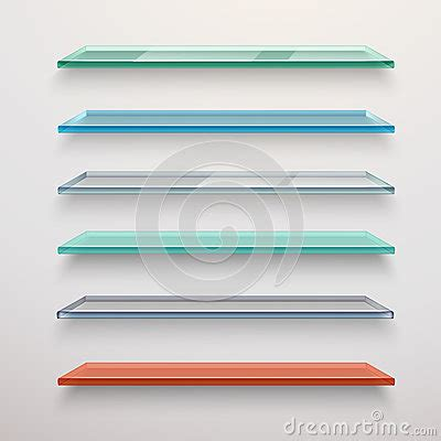 colored wall shelves glass shelves set stock vector image 52406699