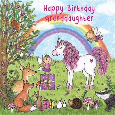 Happy Birthday Granddaughter Card With Unicorn