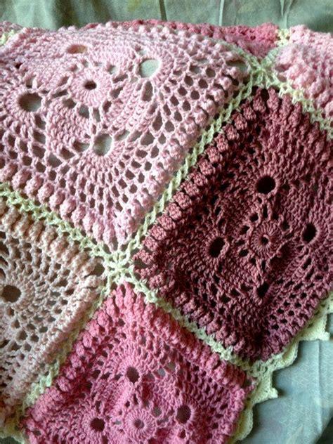 babylove brand antique roses baby crochet blanketafghan shabby chic mauve color toddler