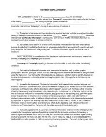 Template Confidentiality Agreement confidentiality agreement template free microsoft word