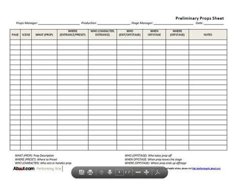 prop list template downloadable prop list forms for stage techs