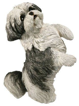 original shih tzu sandicast original size silver and white shih tzu sculpture sitting pretty