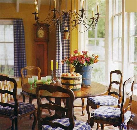 Country Dining Room Curtains Country Dining Room Ideas With Mustard And Gold And Yellow Walls And Blue Checked