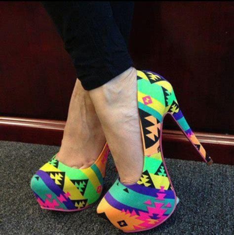 pattern colorful heels shoes high heels aztec black neon orange yellow