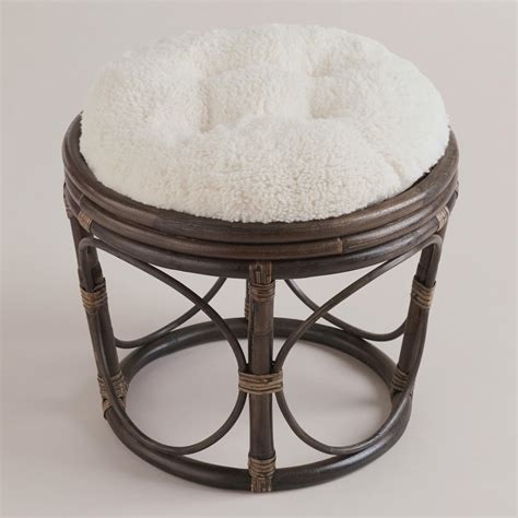 ivory faux fur papasan stool cushion world market