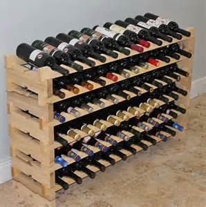 stackable modular wine rack 72 bottles 6 rows pine wood