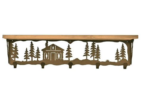 34 quot cabin in the pines metal wall shelf and hooks with