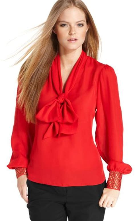 Vince Camuto Satin Bow Neck Blouse by Vince Camuto Sleeve Studded Bow Blouse In Lyst