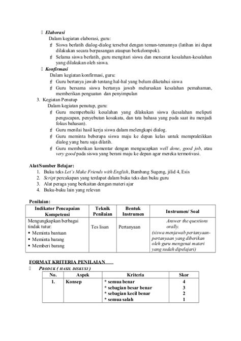 contoh rpp bahasa inggris kelas 5 sd berkarakter semester rpp bahasa inggris untuk sd kelas 5 download soal uts