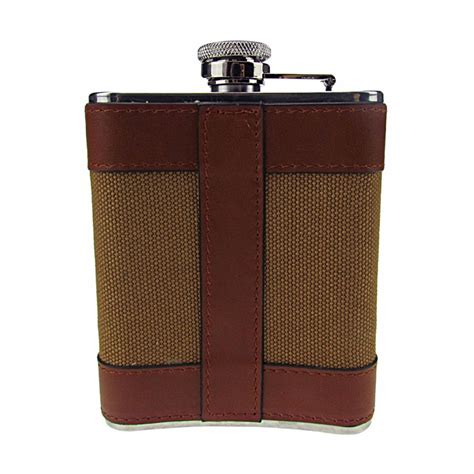 Stainless Steel Leather Cover Flask portable 4oz stainless steel hip flask wine pot handmade leather cover pcp mart