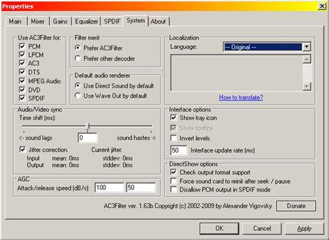 format audio codec dolby ac3 directshow decoder 8192