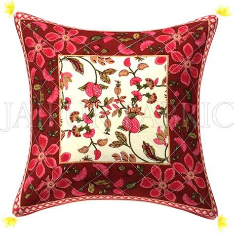 best sofa cushion material in india maroon base pink flower pattern cotton cushion cover