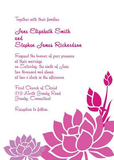 pink  purple lotus flower invitation sample