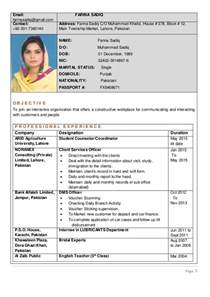 Curriculum Vitae Best Samples by Rozee Cv 10274262 1609554 Farina Sadiq