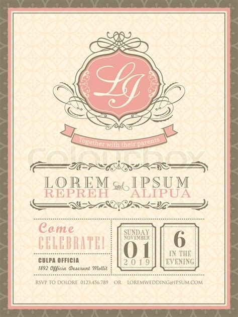 Vintage pastel Wedding Invitation card background template