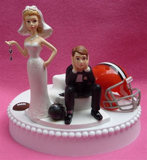 wedding cake topper cleveland browns football key themed groom s top humorous ebay