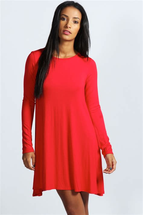 swing dress with sleeves boohoo womens ladies april long sleeve swing dress ebay