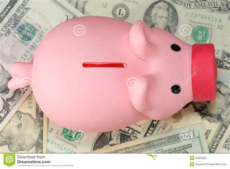 How To Make A Paper Bank - piggy bank on paper money royalty free stock photo image