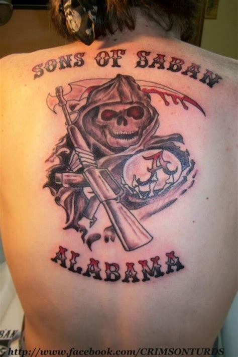 sons of anarchy back tattoo alabama fans channels sons of anarchy in back