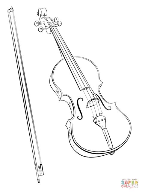 violin coloring pages violin and bow coloring page free printable coloring pages