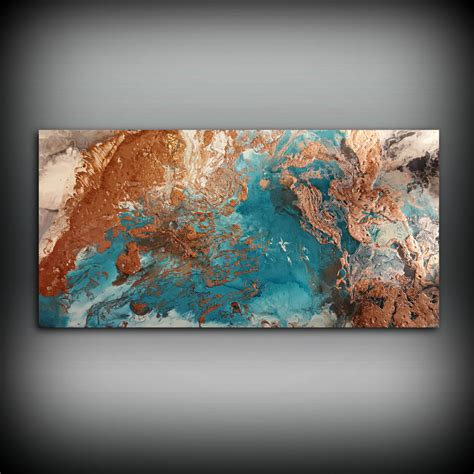 acrylic paint for wall copper coastal painting 24 x 48 acrylic painting