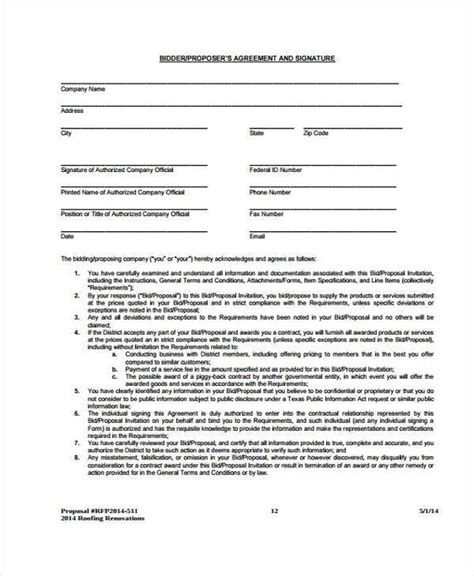construction bid form office templates 28 images