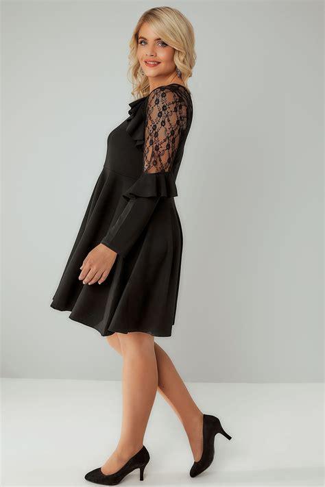 sienna couture schwarzes skaterkleid mit rueschen und