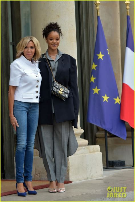emmanuel macron rihanna rihanna meets with french president emmanuel macron