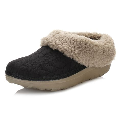 quilted slippers fitflop womens slippers black loaff quilted textile slip