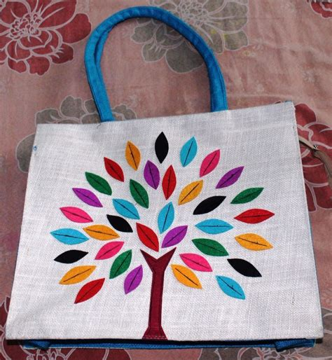 Handmade Jute Bags - visvabhavanah jute bag with indian handmade