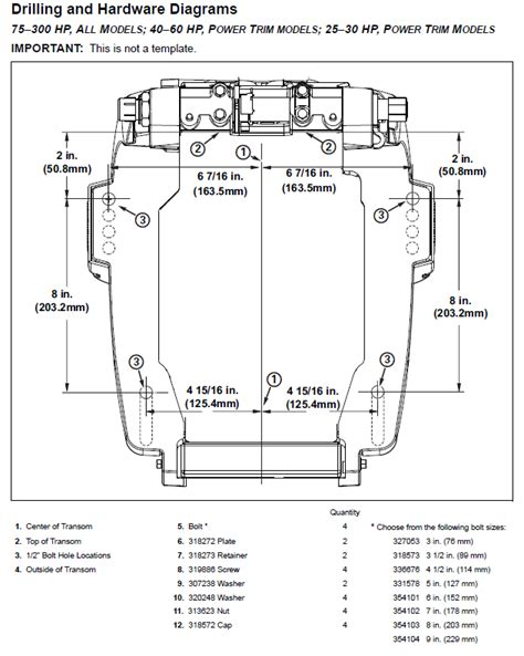 Yamaha Outboard Mounting Template Outboard Mounting Template