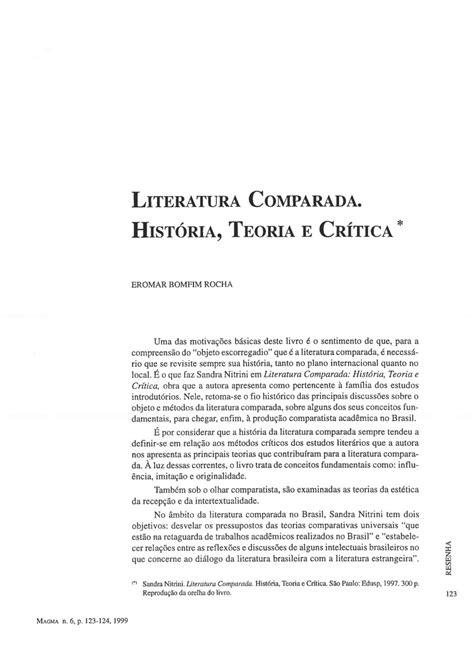 (PDF) Literatura Comparada. História, Teoria e Crítica