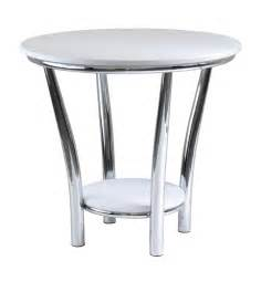modern white end table using metal chrome table