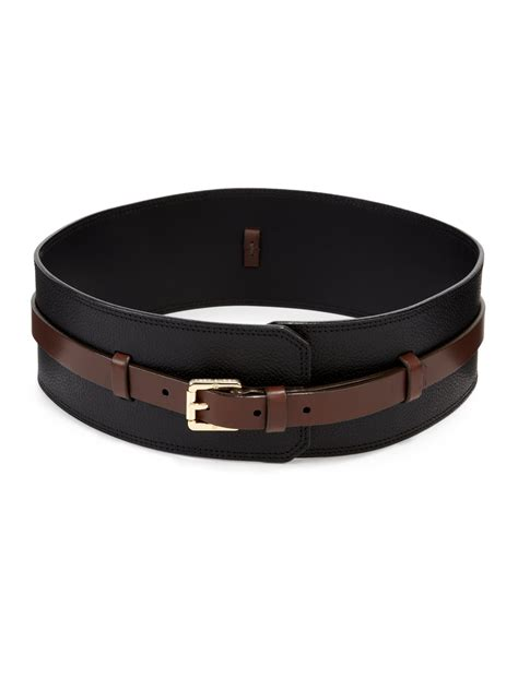 burch wide buckle waist belt in black black brown