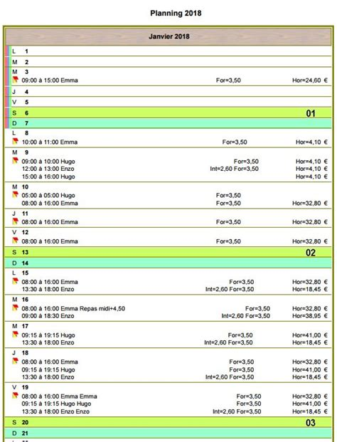 Planning Calendrier Calendrier Planning Vertical