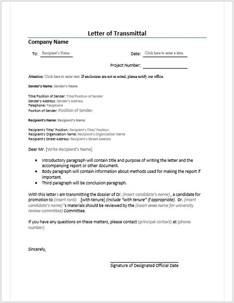 Letter Of Transmittal Template Letter Of Transmittal Microsoft Word Templates