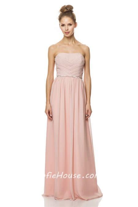a line strapless pearl pink chiffon wedding