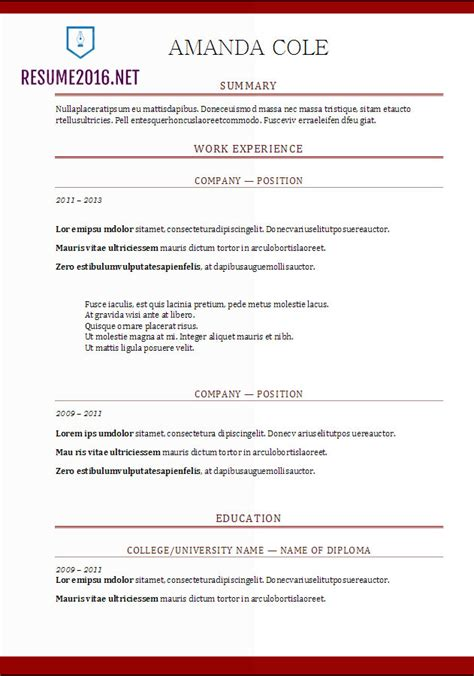 Resume Format 2017 20 Free Word Templates Resume Format Template 2017